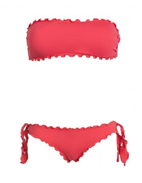 Bikini frou frou corallo composto da fascia e slip o brasiliana con lacci
