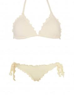 Bikini frou frou panna composto da triangolo frou frou e slip o brasiliana con lacci