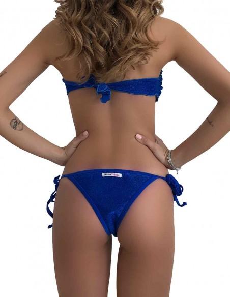 Retro del bikini fascia glitter blue oltremare con brasiliana bordata con laccetti