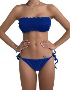 Bikini fascia glitter blue oltremare con brasiliana bordata con laccetti
