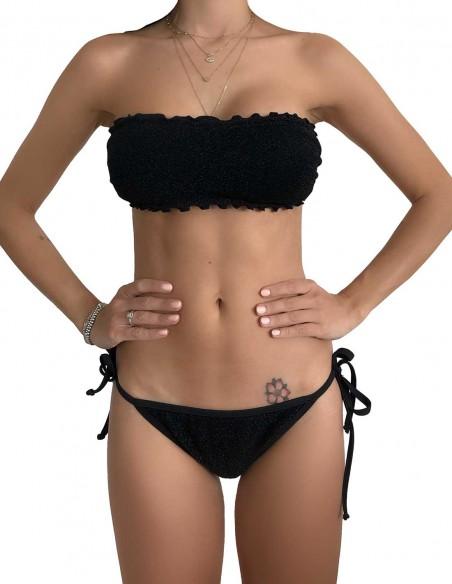 Bikini fascia glitter nero con brasiliana bordata con laccetti
