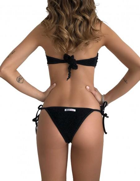 Retro del bikini fascia glitter nero con brasiliana bordata con laccetti