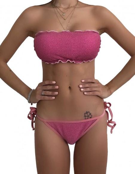 Bikini fascia glitter rosa con brasiliana bordata con laccetti