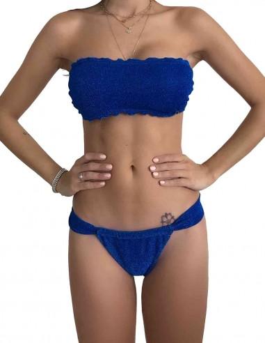 Bikini fascia glitter blue oltremare con slip tanga chiuso
