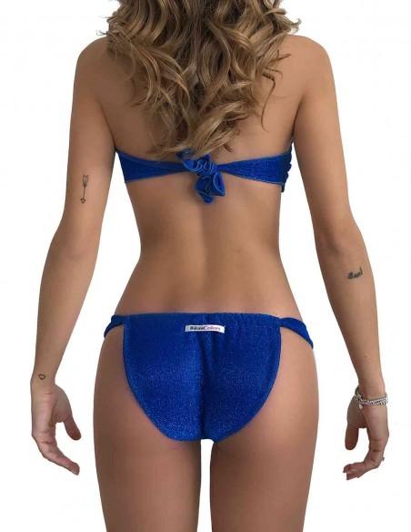 Retro del bikini fascia glitter blue oltremare con slip tanga chiuso