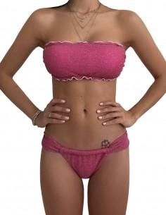 Bikini fascia glitter rosa con slip tanga chiuso