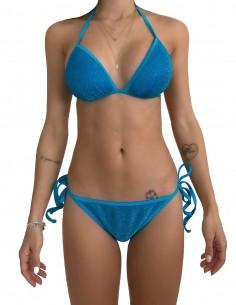Bikini triangolo glitter azzurro con brasiliana bordata con laccetti