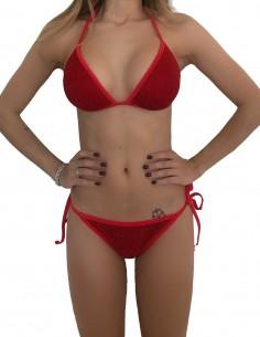 Bikini triangolo glitter rosso con brasiliana bordata con laccetti