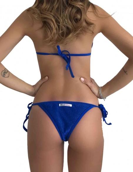 Retro del bikini triangolo glitter blue oltremare con brasiliana bordata con laccetti
