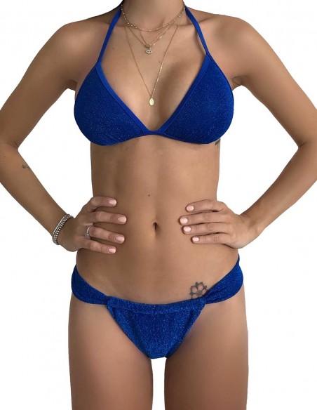 Bikini triangolo glitter blue oltremare con slip tanga chiuso