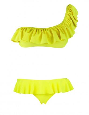 Monospalla volant con slip o brasiliana volant fantasia fenicottieri colore giallo fluo