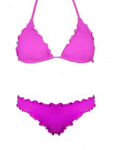 Bikini frou frou fucsia composto da triangolo e slip o brasiliana senza lacci