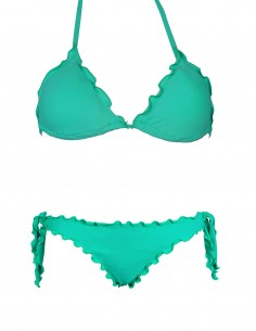 Bikini frou frou tiffany composto da triangolo frou frou e slip o brasiliana con lacci