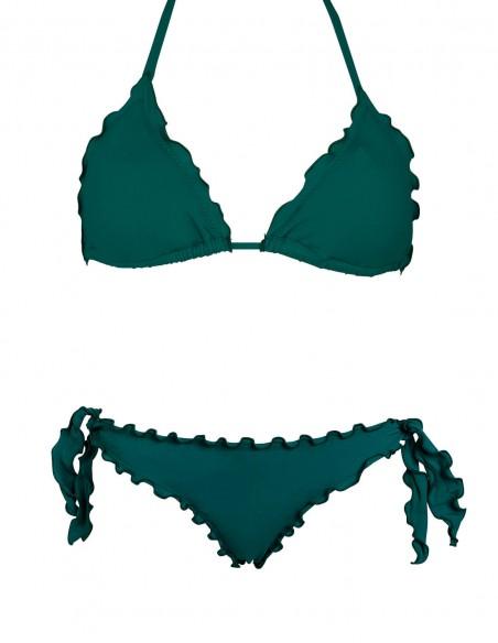 Bikini frou frou verde quercia composto da triangolo frou frou e slip o brasiliana con lacci