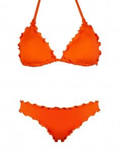 Bikini frou frou arancio composto da triangolo e slip o brasiliana senza lacci
