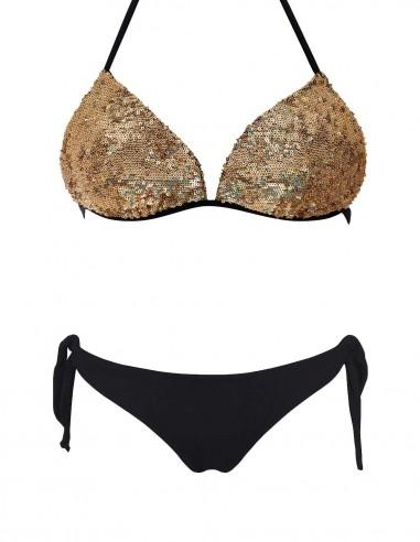 Bikini triangolo push up oro con slip o brasiliana fiocchi nero