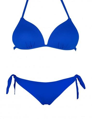 Bikini triangolo push up bianco con slip o brasiliana fiocchi blue oltremare