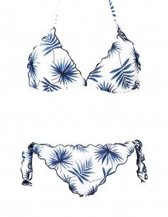 Bikini frou frou fantasia Palme composto da triangolo frou frou e slip o brasiliana con lacci