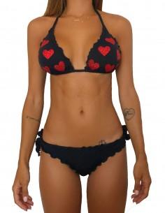Bikini triangolo nero con cuori glitter e slip o brasiliana con fiocchi