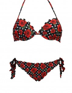 Bikini frou frou fantasia Pois con rose composto da reggiseno super push up e slip o brasiliana con lacci