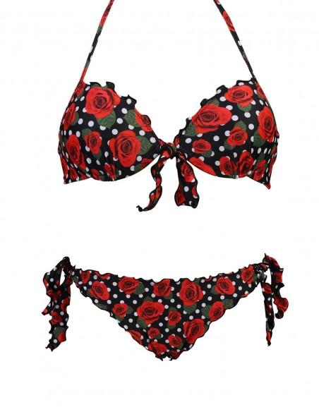 Bikini frou frou fantasia Pois con rose composto da reggiseno super push up con fiocco e slip o brasiliana con lacci