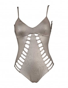Costume intero modello Carlotta tessuto laminato colore argento