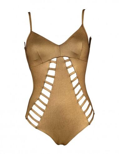 Costume intero modello Carlotta tessuto laminato colore oro