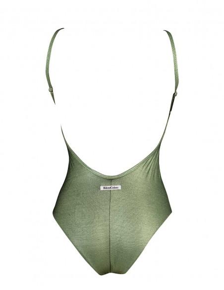 Retro del costume intero modello Carlotta tessuto laminato colore verde