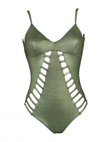 Costume intero modello Carlotta tessuto laminato colore verde