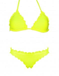 Bikini frou frou giallo fluo composto da triangolo e slip o brasiliana senza lacci