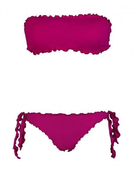 Bikini frou frou amaranto composto da fascia e slip o brasiliana con lacci
