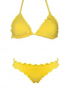 Bikini frou frou giallo composto da triangolo e slip o brasiliana senza lacci