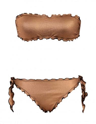 Bikini frou frou laminato bronzo composto da fascia  e slip o brasiliana con lacci