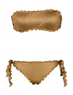 Bikini frou frou laminato oro composto da fascia  e slip o brasiliana con lacci