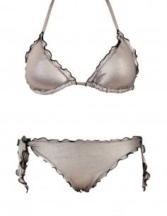 Bikini frou frou laminato argento composto da triangolo e slip o brasiliana con lacci