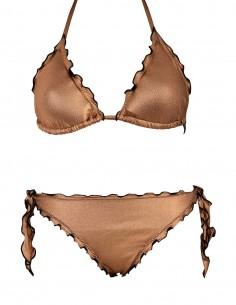 Bikini frou frou laminato composto da triangolo e slip o brasiliana con lacci