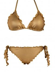 Bikini frou frou laminato oro composto da triangolo e slip o brasiliana con lacci