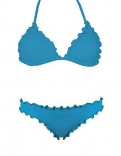 Bikini frou frou petrolio composto da triangolo e slip o brasiliana senza lacci
