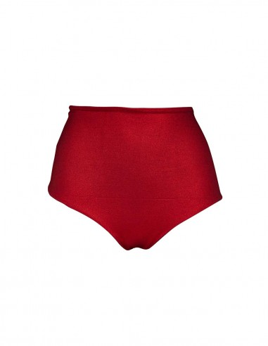 Brasiliana vita alta tessuto laminato rosso