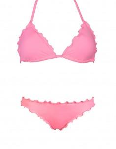 Bikini frou frou rosa composto da triangolo e slip o brasiliana senza lacci
