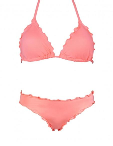 Bikini frou frou salmone composto da triangolo e slip o brasiliana senza lacci