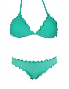 Bikini frou frou tiffany composto da triangolo e slip o brasiliana senza lacci
