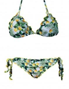 Bikini frou frou fantasia Limoni composto da triangolo frou frou e slip o brasiliana con lacci