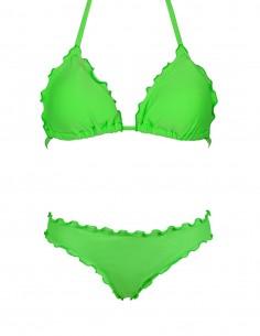 Bikini frou frou verde fluo composto da triangolo e slip o brasiliana senza lacci