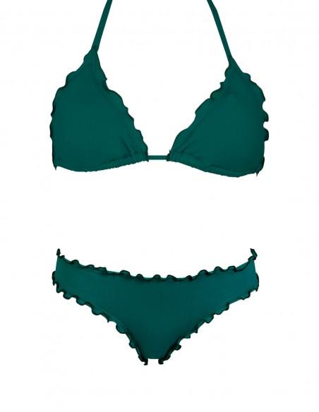 Bikini frou frou verde quercia composto da triangolo e slip o brasiliana senza lacci