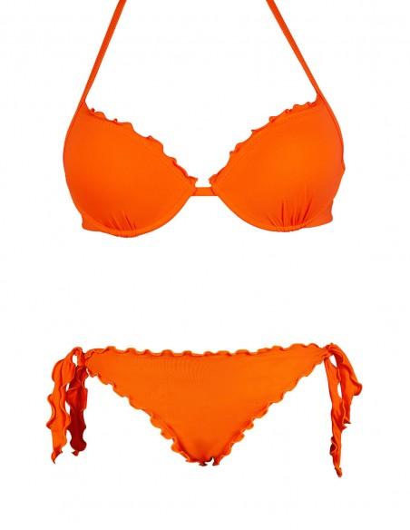 Bikini frou frou arancio composto da reggiseno super push up e slip o brasiliana con lacci