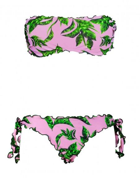 Bikini frou frou Musa composto da fascia e slip o brasiliana con lacci