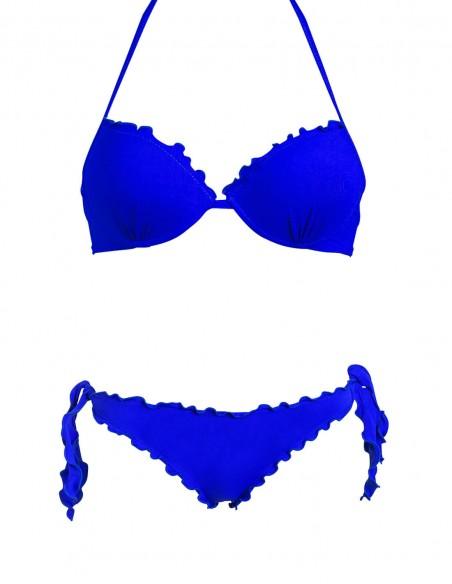 Bikini frou frou blue oltremare composto da reggiseno super push up e slip o brasiliana con lacci