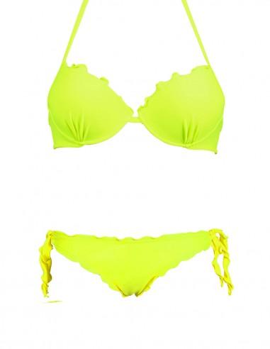 Bikini frou frou giallo fluo composto da reggiseno super push up e slip o brasiliana con lacci