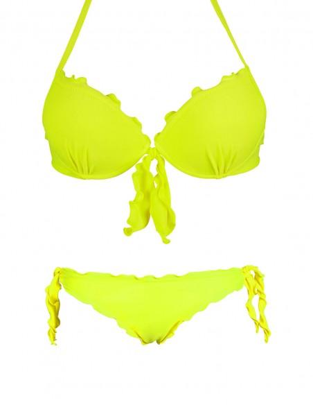Bikini frou frou giallo fluo composto da reggiseno super push up con fiocco e slip o brasiliana con lacci